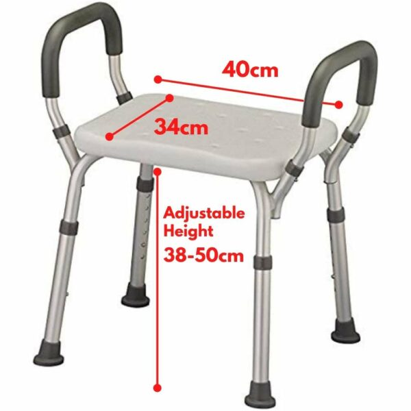 adjustable shower chair with arms