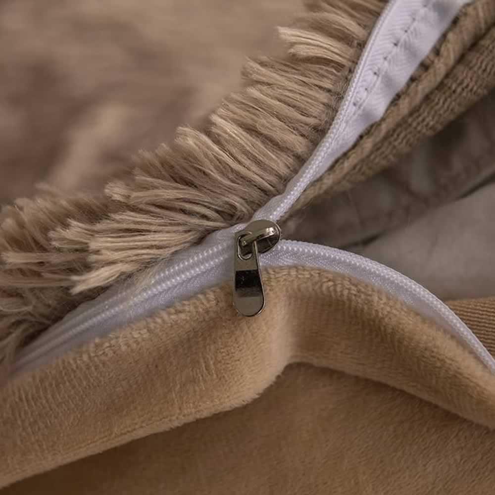 brown fluffy bed set